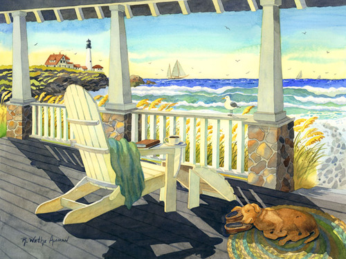 Morning Coffee at the Beach Beach Print
