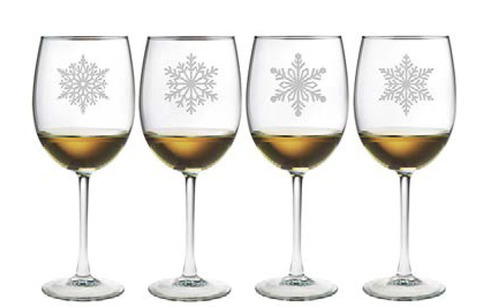Paper Snowflakes Wine Glasses Set of 4