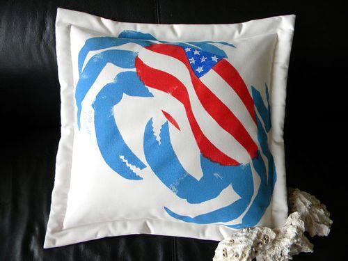 Patriotic Crab Outdoor Pillow