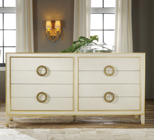 Retro Abstract Dresser in Cream with Antique Gold Accents