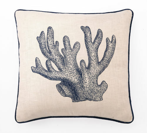 Staghorn Coral Embroidered Pillow