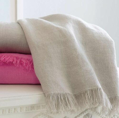 Stone Washed Linen Throw Pearl Grey <font color=a8bb35> NEW</font>