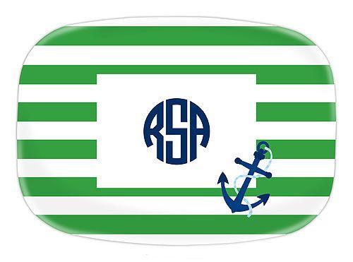 Stripe Anchor Melamine Platter