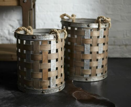 Town & Country Pail with Rope Handle Set of 2