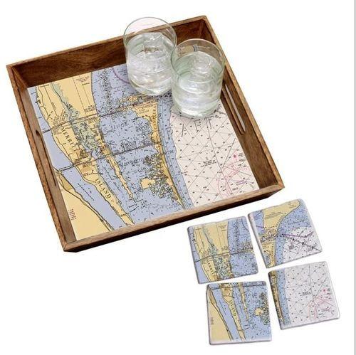 Wood Tray & Coaster Gift Set - Customize Location