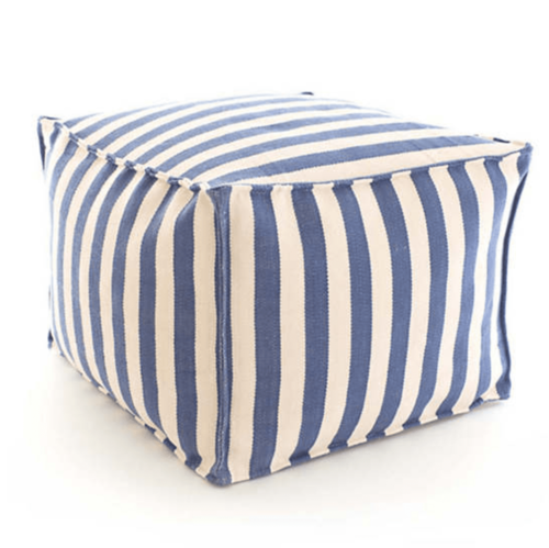 Trimaran Stripe Denim/Ivory Indoor/Outdoor Pouf