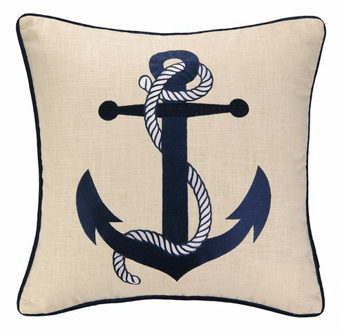 Anchor Embroidered Decorative Pillow
