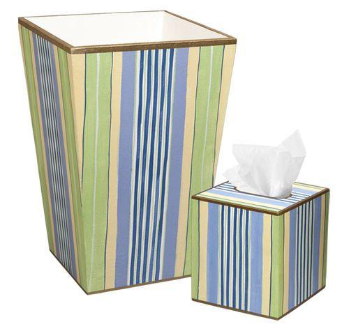Blue Multi-Stripe Bath Set