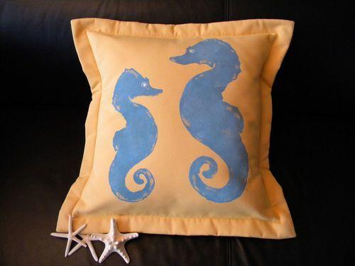 Blue Seahorses Indoor/Outdoor Pillow