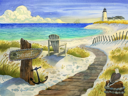 Boardwalk to the Lighthouse Beach Print