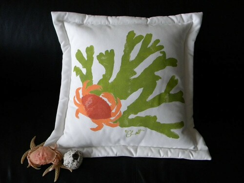 Crab and Eelgrass Pillow