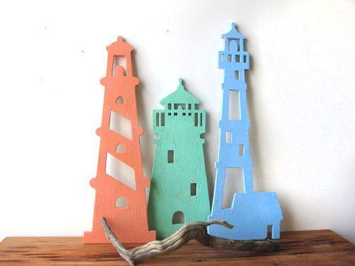Lighthouse Trio Wood Art Beach Sign