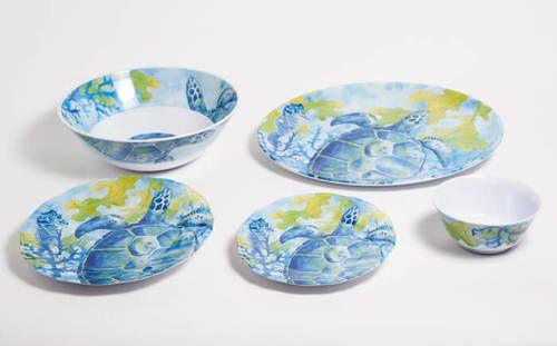 Sea Turtle Melamine Dinner Set with Platter
