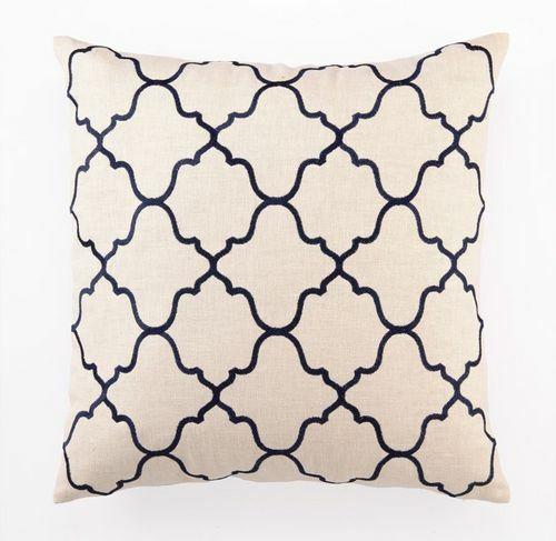 Moroccan Tile Navy Embroidered Pillow