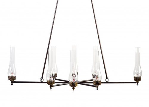 Oglethorpe 8-Light Gaslight Chandelier with Matador Chimneys