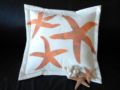 Orange Sea Star Outdoor Pillow