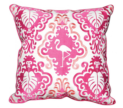 Outdoor Pink Flamingo Pillow  <font color=a8bb35> Discontinued</font>