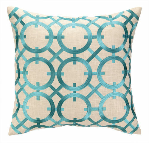Parisian Lights Turquoise Embroidered Pillow <font color=a8bb35> Discontinued</font>