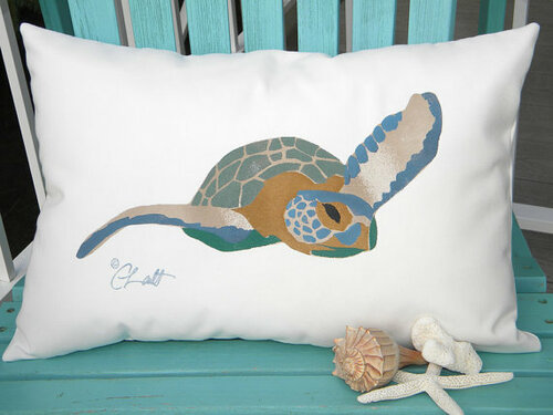 Sea Turtle Lumbar Outdoor Pillow For Sale Cottage Amp Bungalow