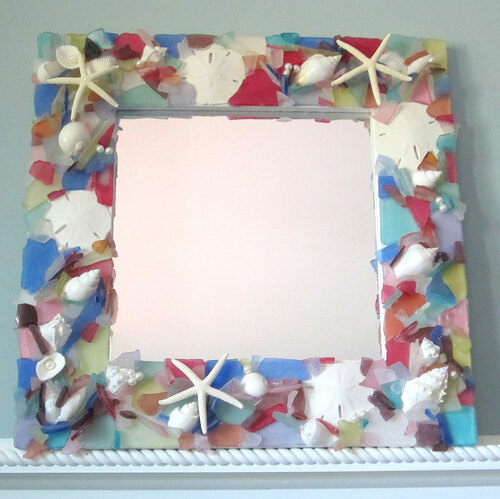 Seaglass and Starfish Mirror