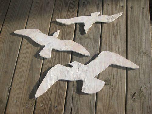 Seagull Trio Wood Art Beach Sign