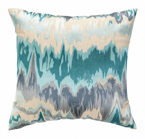 Seismograph Aqua Embroidered Pillow