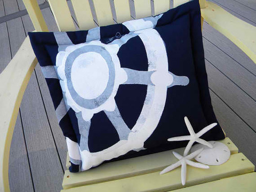 Ships Wheel Navy Pillow