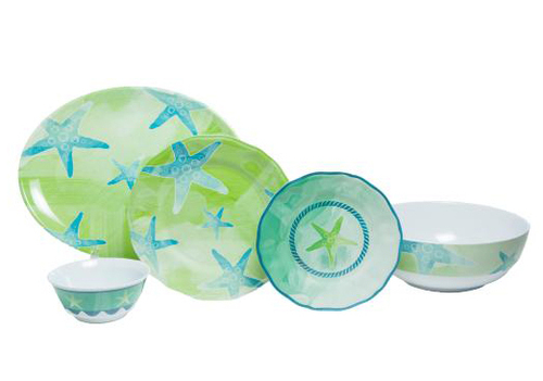 Starfish Melamine Dinner Set with Platter & Serving Bowl