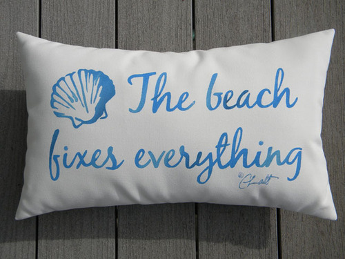 The Beach Fixes Everything Lumbar Pillow For Sale