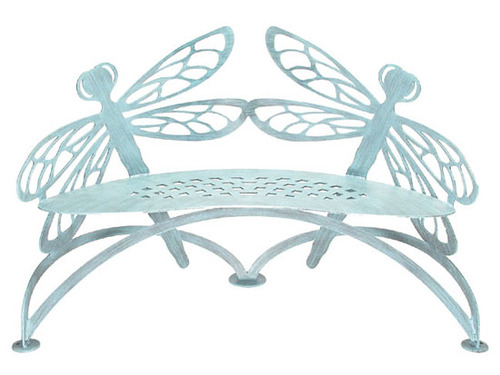 Metal Dragonfly Bench