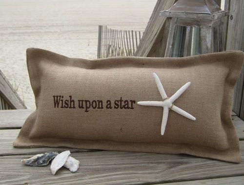 Wish Upon A Star Coastal Phrase Pillow