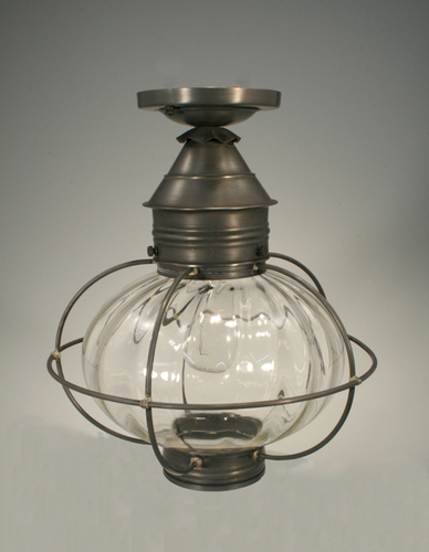 12 Caged Onion Flush Mount Light Fixture with Four Glass Options <font color=a8bb25> Sold Out</font>