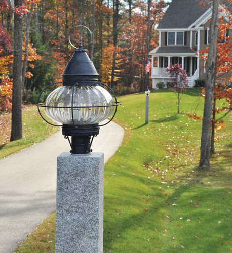 15 Round Onion Light Fixture for Post - Caged