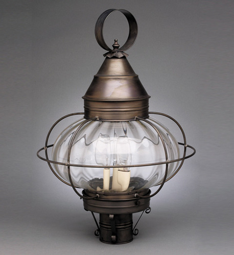 15 Round Onion Light Fixture for Post - Caged <font color=a8bb25> Sold Out</font>