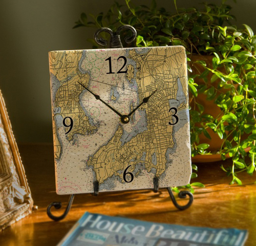 8 Marble Nautical Map Clock - Choose Your Location
