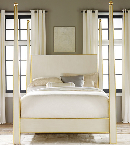 Antique White with Gold Accents Bed