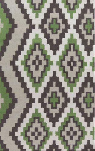 Alameda Moss Green/Black/Ivory Flat Pile Rug
