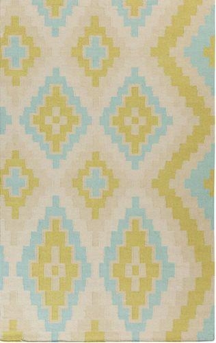 Alameda Lime Green/Teal Flat Weave Rug
