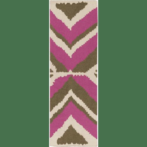 Alameda Magenta/Brown Flat Pile Rug