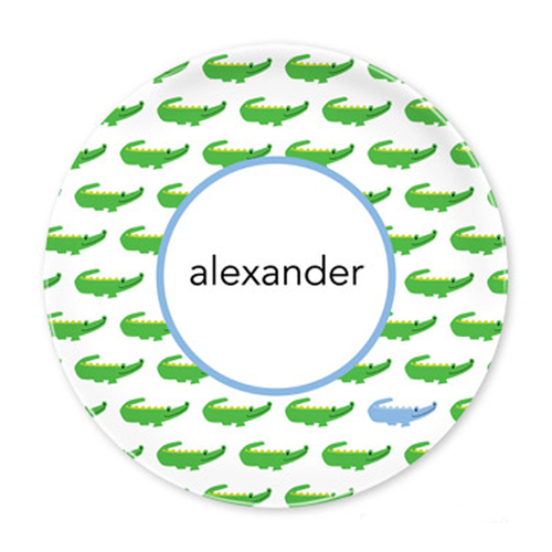 Alligator Repeat Blue Plates - Set of Four