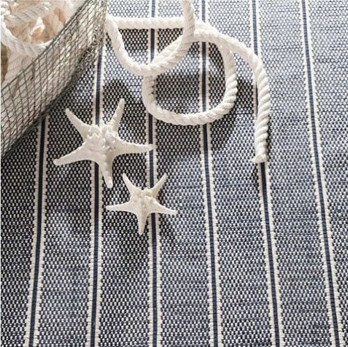 Archer Navy Woven Cotton Rug<font color=cf2317> 20% Off</font>