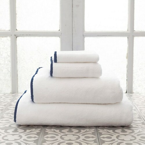 Banded White/Indigo Bath Towels