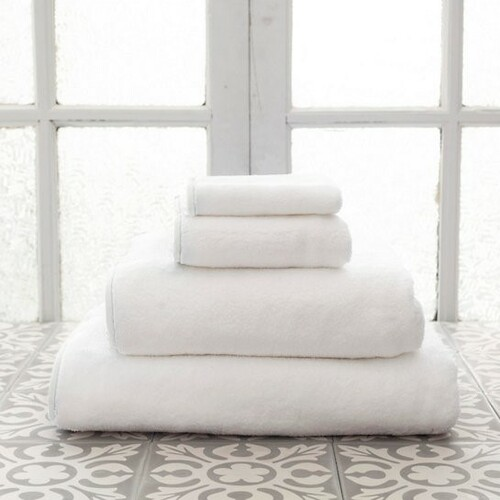Banded White/White Bath Towels