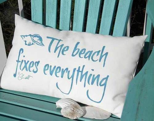 Beach Fixes Everything Outdoor Pillow Version 2