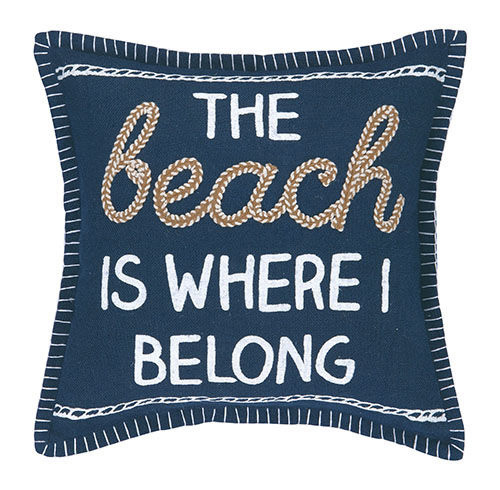 Beach Is Where I Belong Embroidered Pillow