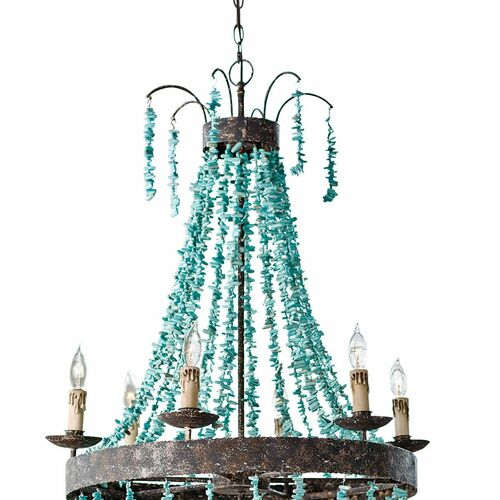Beaded Turquoise Chandelier
