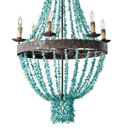 Beaded Turquoise Chandelier
