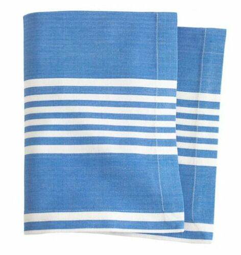 Bistro Stripe French Blue Table Runner With Napkin Option