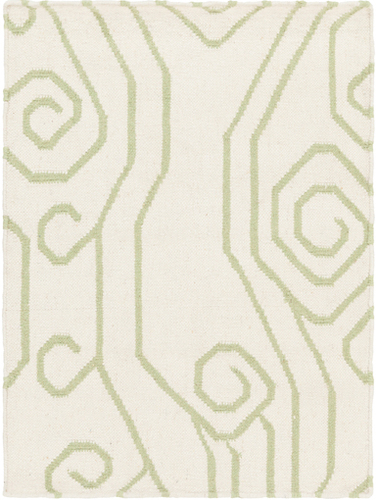 Boardwalk Ivory/Green Swirl Flat Pile Rug<font color=a8bb35> Limited Sizes</font>