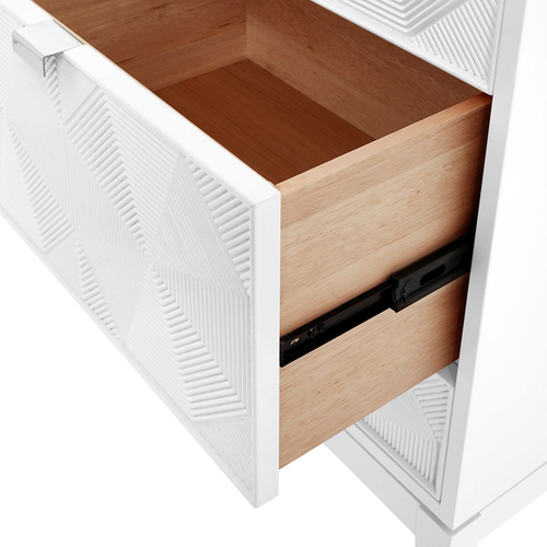 Borneo 3-Drawer Side Table - White
